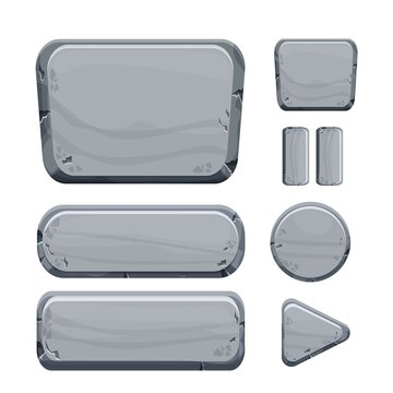 Stone buttons collection, set of rock assets in cartoon style isolated on white background. Mineral detailed objects ui game interface, app pannel.