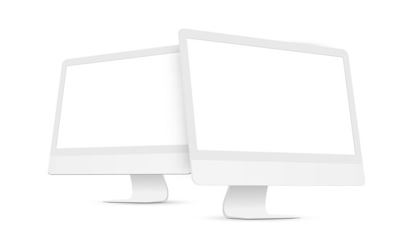 Two Clay Desktop PCs with Perspective Side Views Isolated on White Background. Vector Illustration