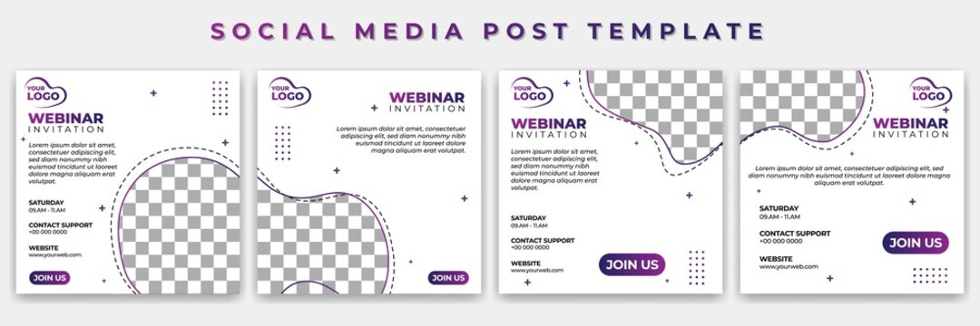 Set of Social Media template with white color vector illustration. webinar invitation design. Good template for online advertising design.