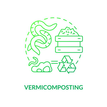 Vermicomposting concept icon. Composting method idea thin line illustration. Recycling agricultural wastes. Using worms. Earthworms consuming biomass. Vector isolated outline RGB color drawing