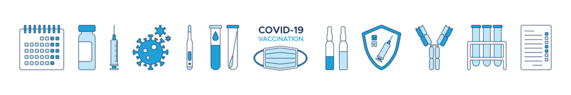 Set of icons COVID-19 vaccination, calendar, ampoules of vaccine, syringe, coronavirus, calendar, shield, test, blood test tube, thermometer and antibody. A medical designe elements in shades of blue