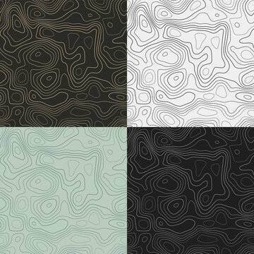 Topography patterns. Seamless elevation map tiles. Artistic isoline background. Captivating tileable patterns. Vector illustration.
