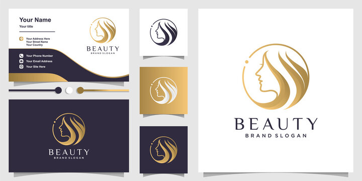 Woman logo with beauty concept and business card design Premium Vector