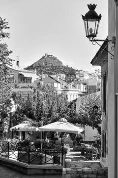 Old street in Plaka district in Athens