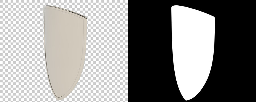 Shield isolated on  background with mask. 3d rendering - illustration