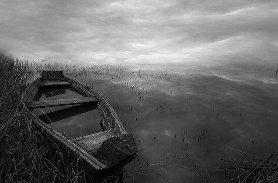 Abandoned Ship Against Sky