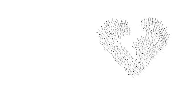 3d rendering of nails in shape of symbol of heart broken with shadows isolated on white background