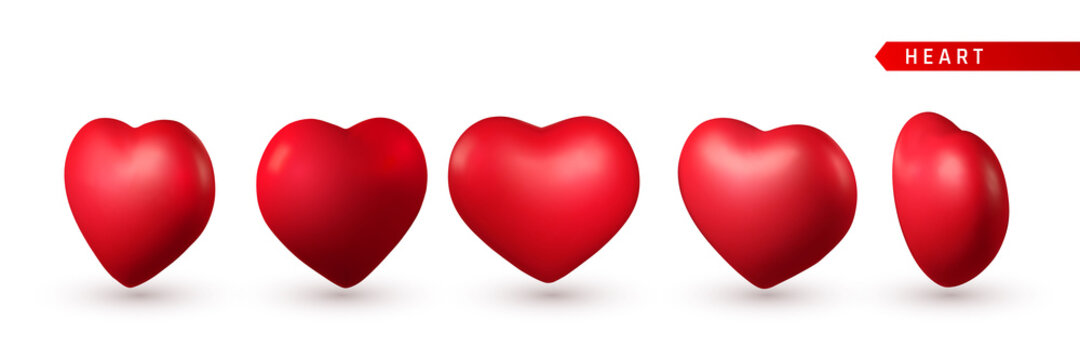 Set of 3d Red Heart. Love symbol isolated on white background. Vector illustration