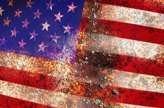 Full Frame Shot Of Rusty American Flag