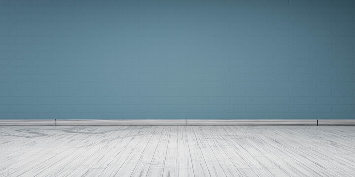 pastel cyan wall with white wood floor 3d render illustration