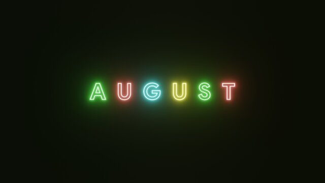 August text neon light colorful on black background . 3d illustration rendering . Neon symbol for August