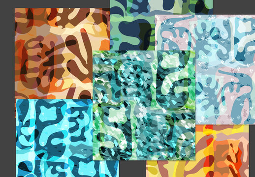 Seamless Pattern Set with Textured Matisse Shapes
