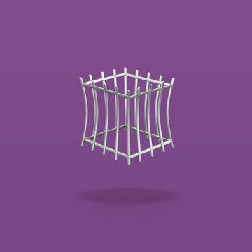 Empty Iron Cage on Purple Background