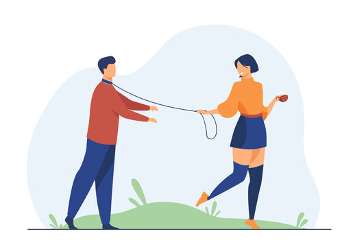 Cheerful woman leading boyfriend on leash. Dominant, manipulator, addict. Flat vector illustration. Toxic relationship, violence, abuser concept for banner, website design or landing web page
