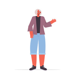 Wall Mural - old woman in casual trendy clothes senior female cartoon character standing pose gray haired grandmother full length vector illustration