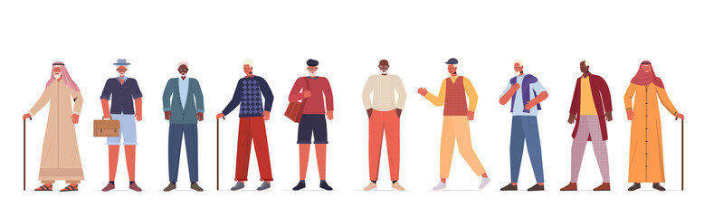 Wall Mural - set mix race old men in casual trendy clothes senior male cartoon characters collection full length horizontal vector illustration