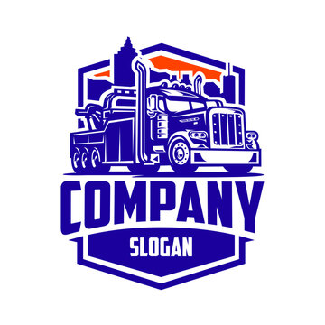 Towing truck company ready made logo vector isolated EPS