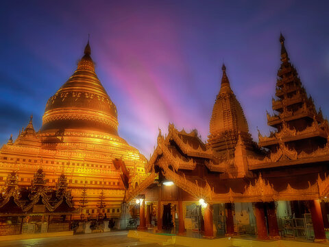 Shwezigon Pagoda or Shwezigon Paya is a Buddhist stupa located in Myanmar. It is the oldest and most beautiful large stupa and one of the 5 great sacred things in Myanmar.