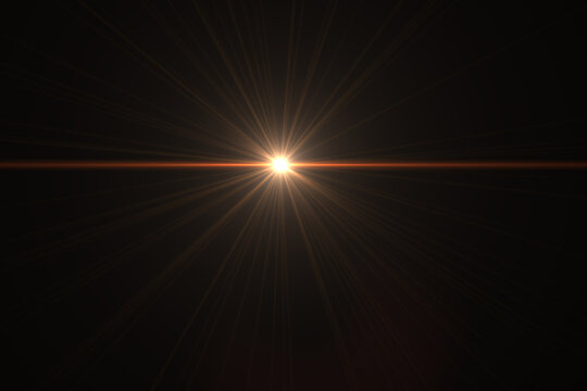 Beautiful optical lens flare effect Golden sun light