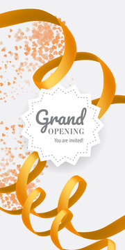 Grand opening You are invited lettering with swirl golden ribbon