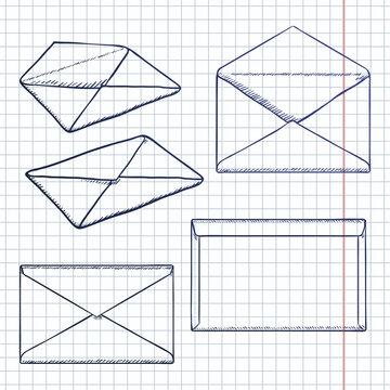 Vector Set of Sketch Postal Envelopes