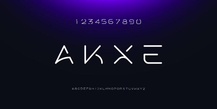 Abstract minimal modern alphabet fonts. Typography technology electronic digital music future creative font. vector illustraion