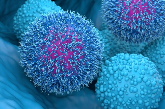 Pancreatic cancer tumor cells 3d illustration close-up