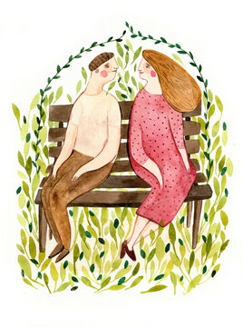 Couple sitting on a bench with plants around them