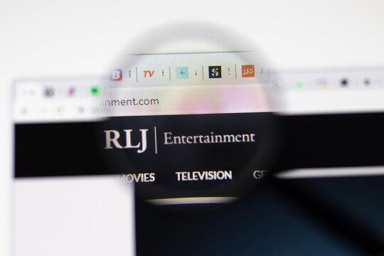 Los Angeles, USA - 1 February 2021: RLJ Entertainment website page. Rljentertainment.com logo on display screen, Illustrative Editorial.