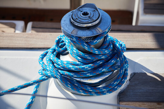 Close-up of blue rope, rolled on a boat, Greece