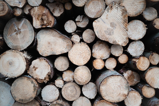 Closeup shot of a pile of chopped firewood stock up for winter