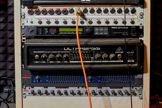 Digital equipment of music recording studio, bass amplifier - Moscow, Russia, January 8, 2021