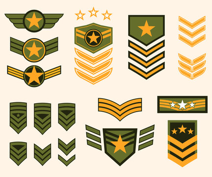 Military stripes, emblems. Logos of military groups. Special military insignia