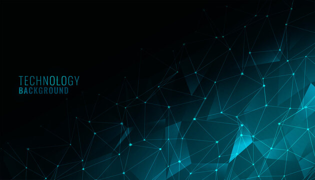 digital low poly technology background with network mesh