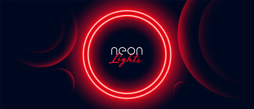 red neon circle light frame banner design