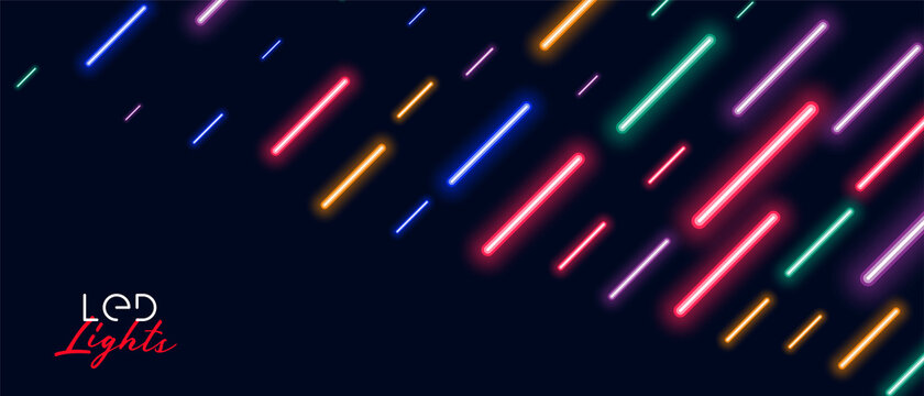 colorful neon led light rain background design