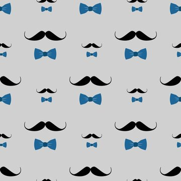 Seamless men pattern of black moustache and blue bowtie on gray. Repeating masculine background for print, cover, wrapping, wallpaper, fashion, textile, backdrop, surface, card, babershop design.