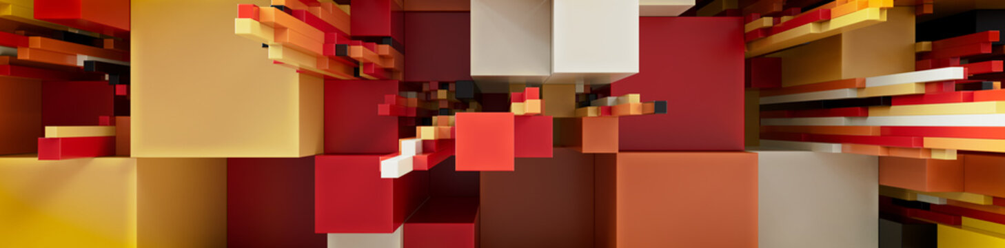 Multicolored 3D Block background. Tech Wallpaper with Orange and Yellow hues. 3D Render