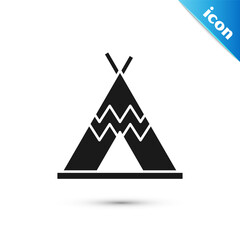 Fototapeta Grey Traditional indian teepee or wigwam icon isolated on white background. Indian tent. Vector. obraz