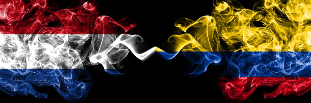 Netherlands vs United States of America, America, US, USA, American, Colombia, Colombian smoky mystic flags placed side by side. Thick colored silky abstract smoke flags.