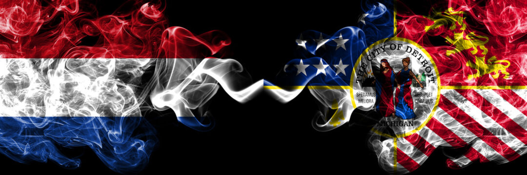 Netherlands vs United States of America, America, US, USA, American, Detroit, Michigan smoky mystic flags placed side by side. Thick colored silky abstract smoke flags.