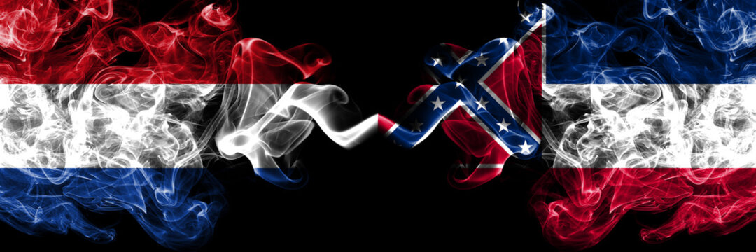 Netherlands vs United States of America, America, US, USA, American, Mississippi smoky mystic flags placed side by side. Thick colored silky abstract smoke flags.