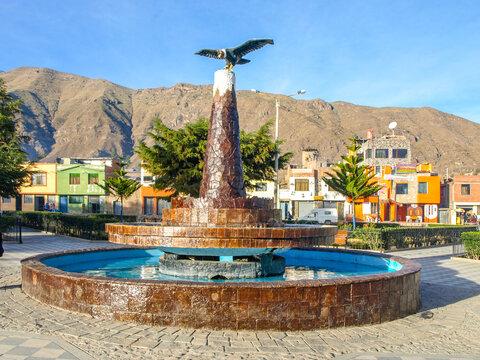 CABANACONDE, PERU - JULY 16, 2010: Condor statue in Cabanaconde village at Colca Canyon, Peru, Latin America