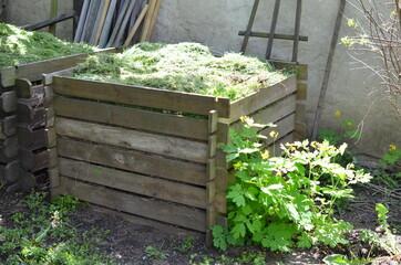 Fototapeta Drewniany kompostownik na działce ogrodowej obraz