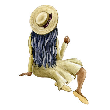 Sitting woman figure watercolor illustration. Relaxed black skin girl with long hair and hat. Happy retro style woman back view posing element. Young person portrait looking ahead on white background.