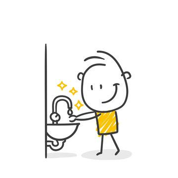 Strichfiguren / Strichmännchen: Hände waschen, Hygiene. (Nr. 585)