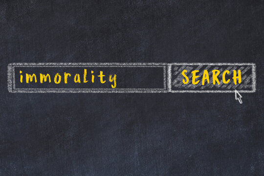 Chalk sketch of browser window with search form and inscription immorality