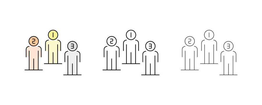 Vector Line Icons for the first, second and third place Linear man icon of different thickness and color. Leadership selection, first medal colors. Editable Stroke. Modern line art icon set.