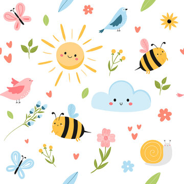 Cute spring seamless pattern with bees, sun, cloud, birds and flowers. Flat hand drawn cartoon style vector illustration. Adorable Childish pattern for fabrics, textile, wrapping, background.