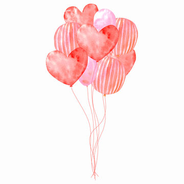 bright watercolor card with balloons. red watercolor balloons in a bundle